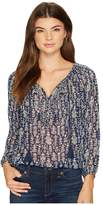 Lucky Brand Embroidered Peasant Top Women's Long Sleeve Pullover