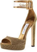 Jimmy Choo Mayner Metallic Fabric High Dressy Platform Sandal