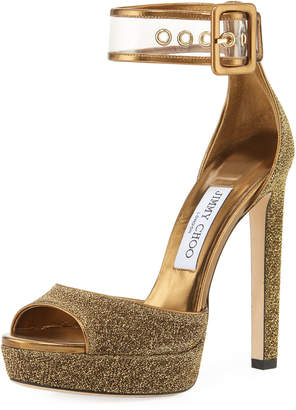 Jimmy Choo Mayner Metallic Fabric High Dressy Platform Sandal