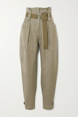 IRO Mohon Belted Cotton-canvas Tapered Pants - Army green
