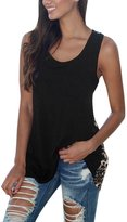 uxcell® Women Scoop Neck Leopard Panel Sleeveless Tunic Tank Top L