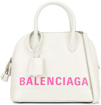 Balenciaga Small Logo Ville Top Handle Bag in White & Fluo Pink | FWRD
