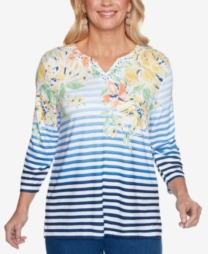 Alfred Dunner Petite Lazy Daisy Mixed-Print Top