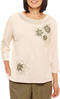 Alfred Dunner Palm Dessert 3/4 Sleeve Crew Neck T-Shirt-Womens