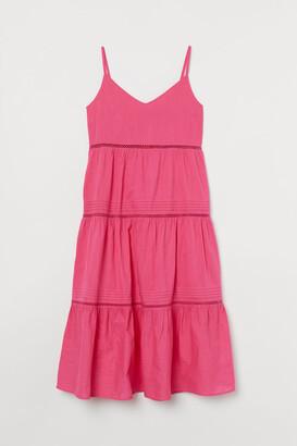 H&M H&M+ V-neck Cotton Dress - Pink
