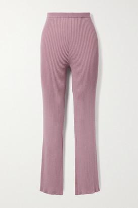 SABLYN Jordan Ribbed Cashmere Straight-leg Pants - Antique rose