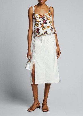 Jason Wu Collection Floral Washed Sateen Peplum