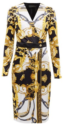 Versace Baroque-print Jersey Wrap Dress - Womens - White Multi