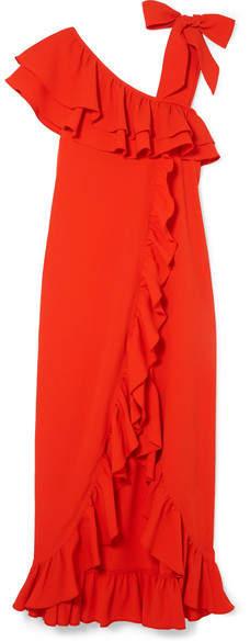 Ganni Clark Ruffled Stretch-crepe Maxi Dress - Tomato red