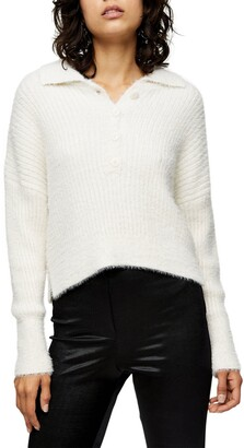 Rib Knit Polo Cardigan