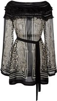 Roberto Cavalli animal print sheer blouse