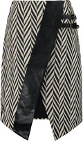 Self-Portrait Asymmetric faux leather-trimmed zigzag jacquard skirt