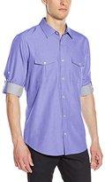 Calvin Klein Men's Long Sleeve Cotton Tencel Chambray Roll Up Woven Shirt