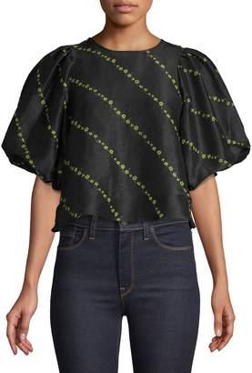Ganni Floral-Print Silk Linen Blend Cropped Top
