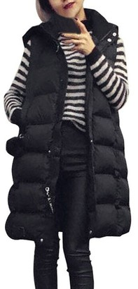 Homebaby Women Winter Coat Women Long Cotton Padded Waistcoat Coat Hooded Vest Gilet Jacket Winter Parka Ladies Warm Quilted Padded Lightweight Trench Outwear Long Sleeve Tops Cardigan Black