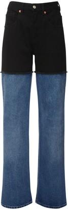 MM6 MAISON MARGIELA Two Tone High Waist Straight Wide Jeans