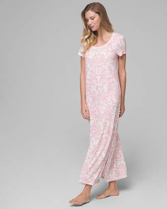 Cool Nights Short Sleeve Long Sleepshirt Divine Scroll Pink