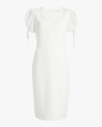 Badgley Mischka Puff-Sleeve Day Dress