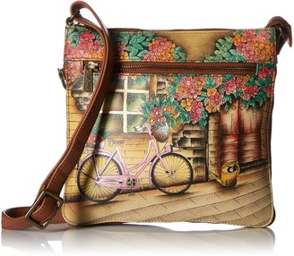 Anuschka Womens Genuine Leather Expandable Travel Crossbody - Hand Painted Original Artwork - Vintage Bike