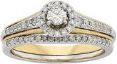 JCPenney MODERN BRIDE 1/2 CT. T.W. Diamond 10K Two-Tone Gold Milgrain Bridal Ring Set