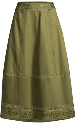Elie Tahari Daisy Embroidered Poplin Midi Skirt