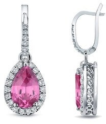 Auriya 14k Gold 2ct Pear-cut Pink Sapphire Halo Diamond Dangle Earrings 2/5ct TDW