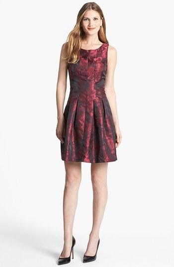 Donna Ricco Jacquard Fit & Flare Dress
