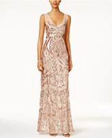 Adrianna Papell V-Neck Sequined Illusion Gown