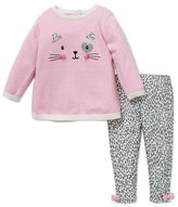 Little Me Baby Girls Two-Piece Kitty Sweater and Leopard-Printed Leggings Set