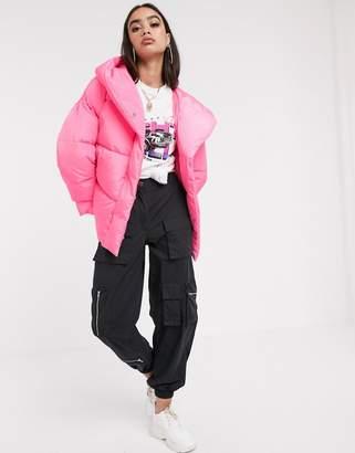 Asos Design DESIGN bubblegum wrap hooded puffer jacket in pink