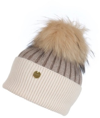 Popski London Angora Pom Pom Hat - Soft Fawn-cream