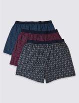 Marks and Spencer 3 Pack Pure Cotton Stretch Printed Boxers