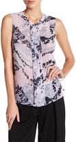 Laundry by Shelli Segal Sleeveless Pleated Front Print Blouse