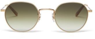 Garrett Leight Robson Round Stainless-steel Sunglasses - Womens - Green Gold