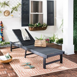"Safavieh Outdoor Living Manteca Dark Slate Grey/ Black Lounge Chair - 23.6"" x 75.2"" x 13"""