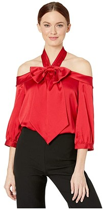 CeCe Drop Shoulder 3/4 Sleeve Bow Blouse (Ribbon Red) Women's Clothing