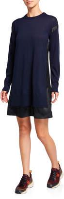 Rag & Bone Sadie Wool Sweaterdress with Silk Panels