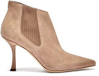 Jimmy Choo Maiara 90 Suede Ankle Boots - Beige