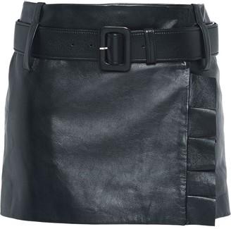 Prada Leather miniskirt with belt and ruffles