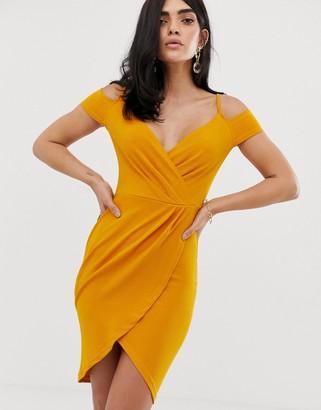 AX Paris cold shoulder wrap dress-Yellow
