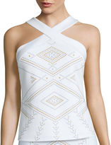 Bisou Bisou Sleeveless Cross-Front Scuba Top