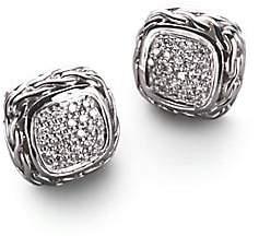 John Hardy Women's Classic Chain Diamond & Sterling Silver Small Square Stud Earrings