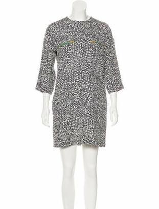 Celine Zip-Accented Animal Print Dress White Zip-Accented Animal Print Dress