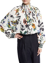 Tibi Gothic Floral Pleated Silk Crop Top, White