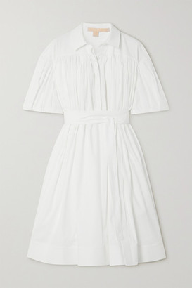 Brock Collection Belted Cotton-blend Poplin Dress - White
