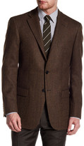 Hart Schaffner Marx Brown Herringbone Two Button Notch Lapel Wool Sport Coat