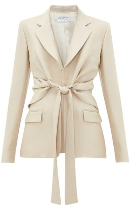 Gabriela Hearst Grant Knotted Wool-blend Pique Suit Jacket - Light Beige