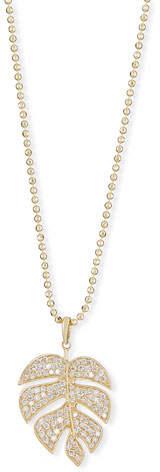 Sydney Evan Pave Diamond Monstera Leaf Necklace
