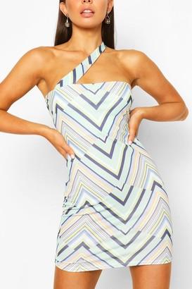boohoo Geo Print One Shoulder Mini Dress