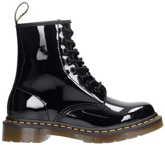 Dr. Martens 1460 Combat Boots In Black Patent Leather